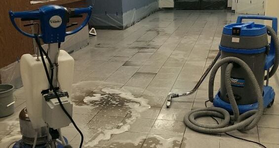 Bank floors being cleaned Marble