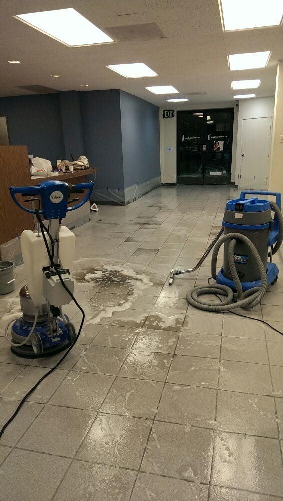 Bank floors being cleaned Marble
