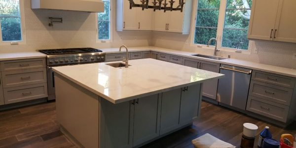 White Carara Marble kitchen counters after resurface marble polishing and seal beautiful kitchen in Studio City.
